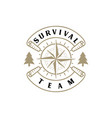 survival explore adventure logo with compass ma vector image vector image