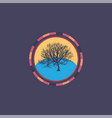 technology colorful round background with tree vector image