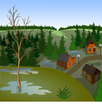 View of landscape of spring town from hill vector image vector image