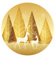 winter forest circle background with reindeers vector image vector image