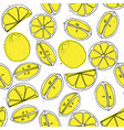 yellow lemon hand draw seamless pattern with light vector image vector image