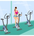 Young woman uses a bicycle in the gym for a good vector image vector image