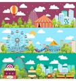 Flat design conceptual city banners with carousels vector image
