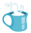 Splash of milk in a mug Isolated on white vector image