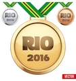 Three medals on green ribbons with shiny vector image