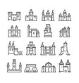 medieval castle and ancient tower fortress line vector image