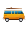 Vintage yellow travel minibus Camper cartoon van vector image
