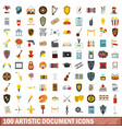 100 artistic document icons set flat style vector image vector image