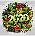 2020 hand drawn doodles new year vector image vector image