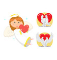 angelic child cupid girl with wings and nimbus vector image