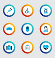 antibiotic icons colored set with checklist vector image vector image