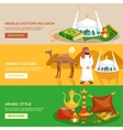 arabic culture banner set vector image vector image