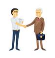 asian business men shaking hands vector image vector image