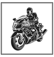 biker riding a motorcycle bikers event or vector image vector image