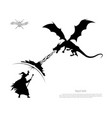 black silhouette of battle of wizard with dragon vector image