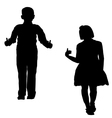boy and girl silhouettes vector image