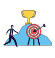 businessman trophy mountain and target vector image vector image