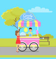 candy cotton mobile shop located in city park vector image vector image
