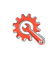 cartoon service tool icon in comic style cogwheel vector image
