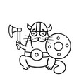 cat viking with an ax and shield vector image vector image