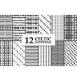 celtic knot seamless pattern set vector image