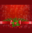 christmas postcard red bokeh with holly berry red vector image