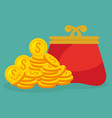coins money with wallet vector image vector image