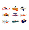 collection cute animals pilots flying on retro vector image