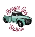Color vintage gas station emblem vector image