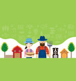 couple farmers characters with icons background vector image vector image