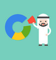 cute arab businessman pick one piece from pie vector image