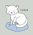 cute cat character white kitten is sitting vector image