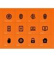 Fingerprint icons on orange background vector image vector image