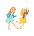 Girl Tripping Smaller Kid Teenage Bully vector image vector image