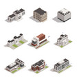 government buildings isometric icons set vector image vector image