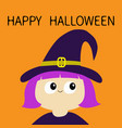 happy halloween witch girl wearing curl hat vector image vector image