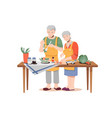 healthy food elderly couple cooks dinner on table vector image
