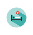 hospital bed medicine flat color icon with shadow vector image vector image