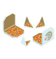 isometric pizza triangle box slice slice fresh vector image