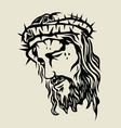 jesus christ face sketch drawing vector image vector image