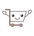 kawaii cart shopping empty supermarket cartoon vector image