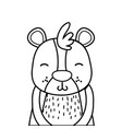 line adorable and smile bear wild animal vector image vector image