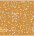 linear hen birds seamless pattern hand drawn vector image vector image