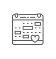 love calendar wedding date valentines day line vector image
