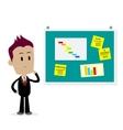 Man Looking At Office Bulletin Board vector image vector image