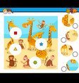 match pieces puzzle with monkeys and giraffes vector image