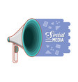megaphone with social media icons vector image vector image