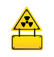 metal emblem warning radiation notice sign vector image vector image