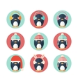 Penguins icons set in flat design vector image vector image