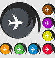 Plane icon sign Symbols on eight colored buttons vector image vector image